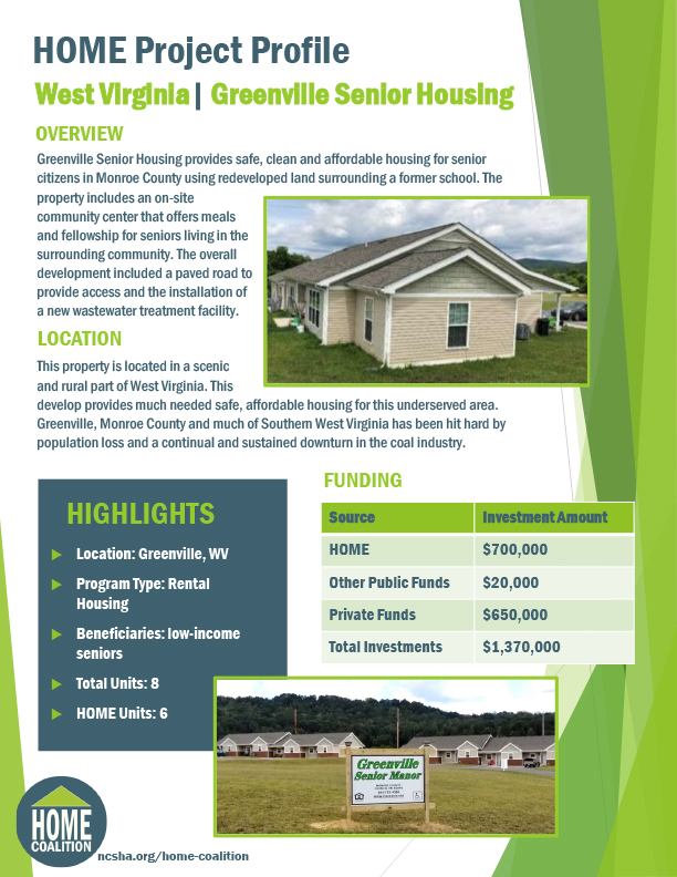 HOME Project Profile: West Virginia – Greenville Senior Housing
